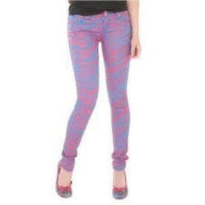 Tripp NYC Pink & Blue Zebra Skinny Jeans NWOT